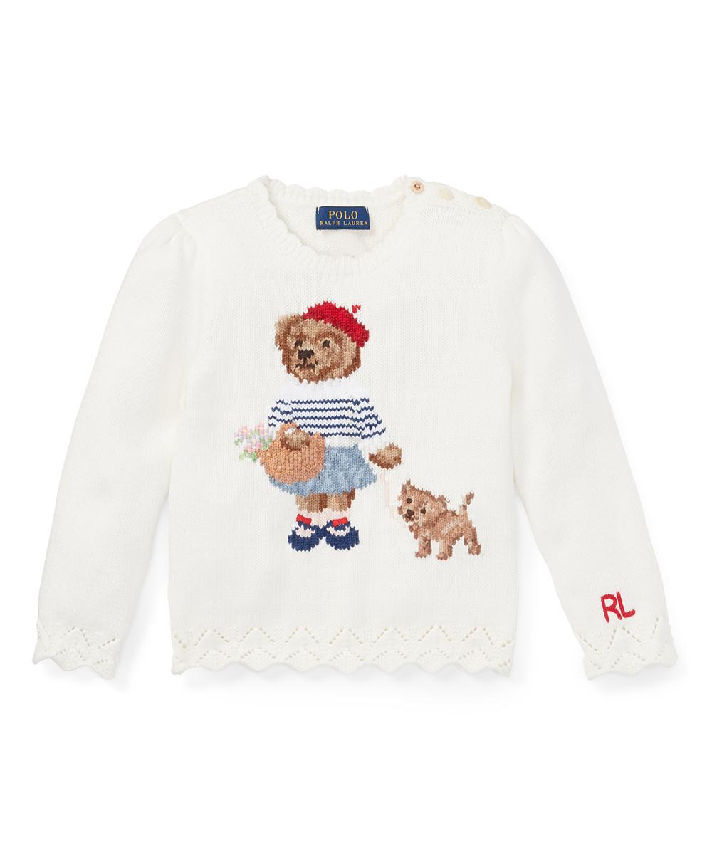 820f0c8a9352 Ralph Lauren Trophy Cream Polo Bear Cotton Sweater - Toddler