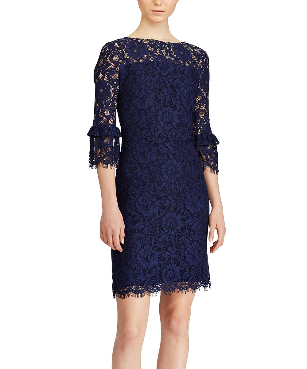 bb55b854 Lauren Ralph Lauren Navy & Wheat Floral Lace Scallop-Sleeve Sheath Dress -  Women