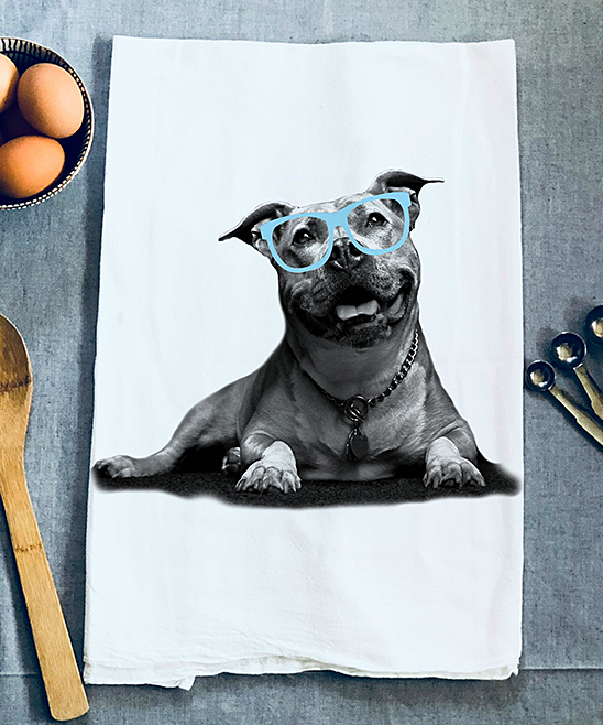 Glasses Dog Dish Towel Glasses Dog Dish Towel. Give the kitchen the same striking fashion sense you have by dressing it with this cute and quirky accent. 28'' x 29''Heat-pressed graphic100% cottonMachine washImported
