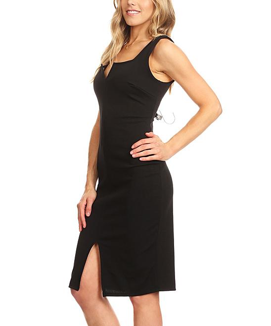 Nema Avenue Black Notch Neck Sleeveless Sheath Dress Women Plus