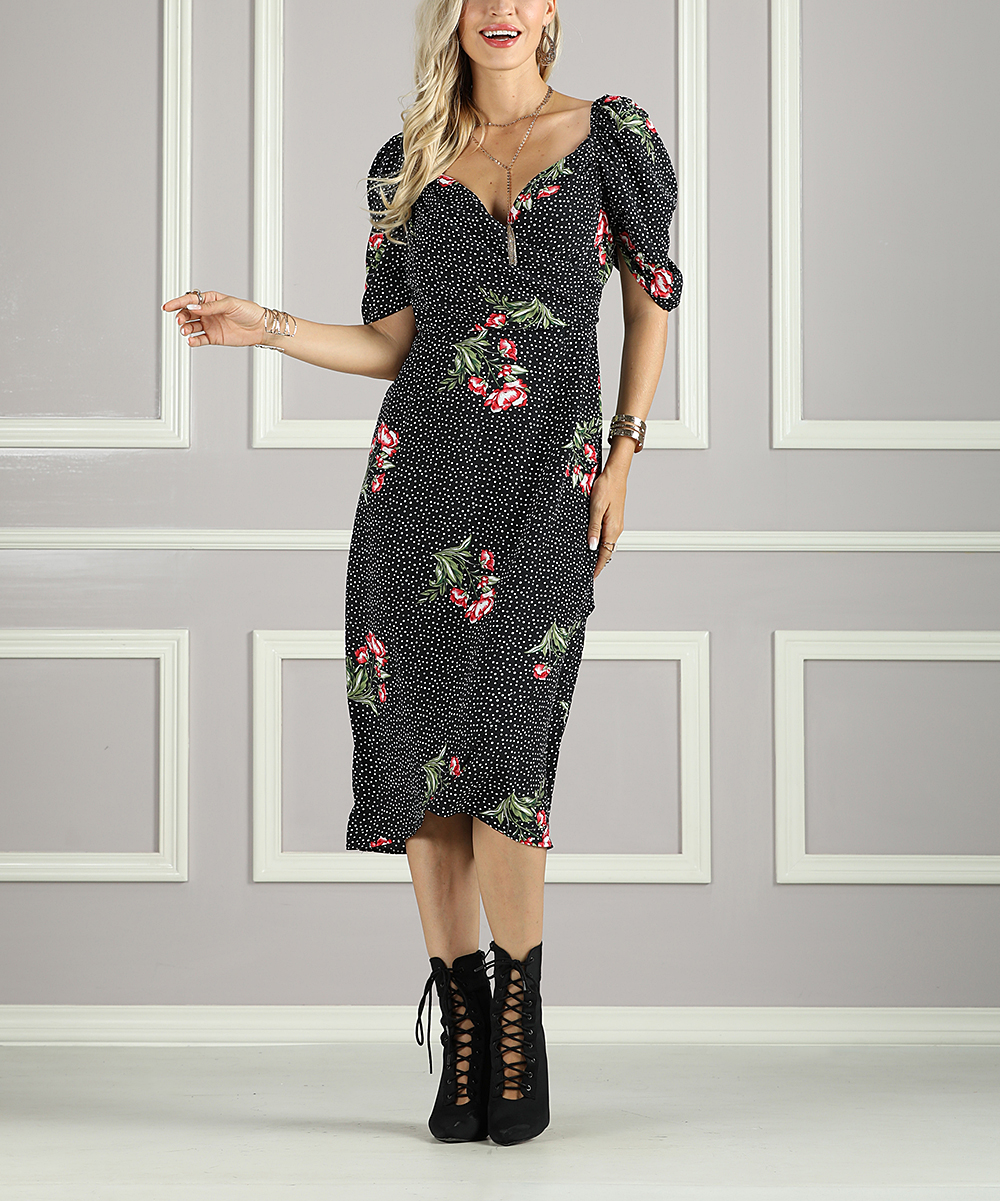 0cf2dbbef769 Suzanne Betro Dresses Black   White Floral Puff-Sleeve Faux Wrap ...