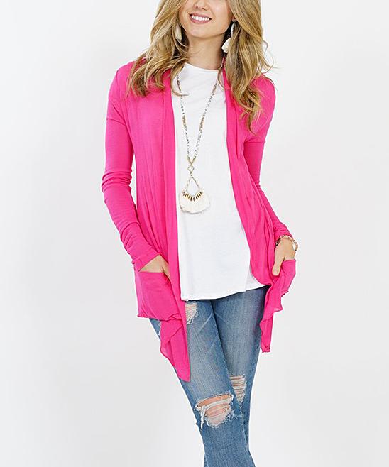 Hot Pink Two Pocket Semisheer Cardigan Women Zulily