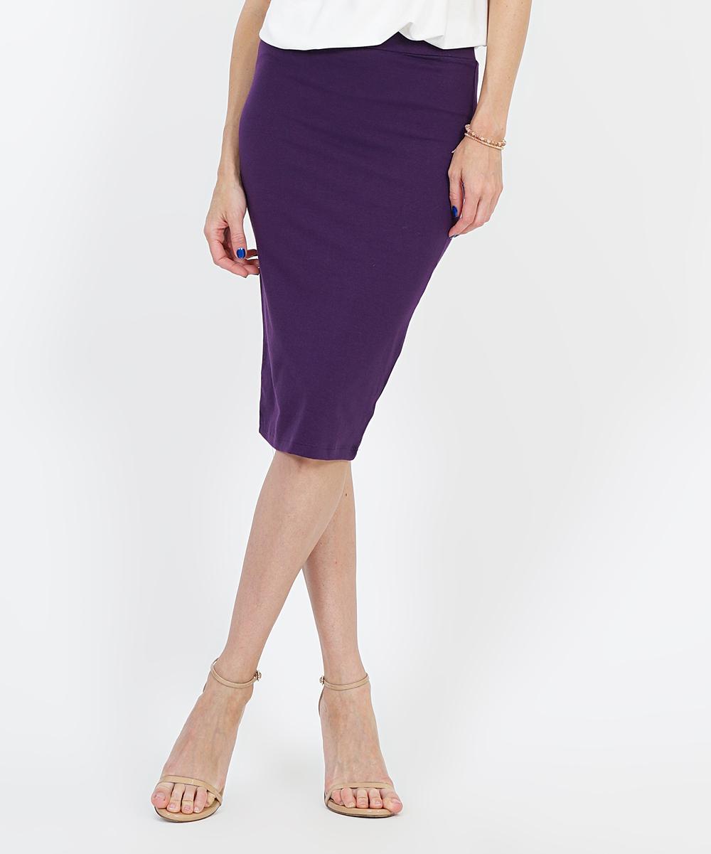 aae08568b0a 42POPS Dark Purple Basic Pencil Skirt - Women