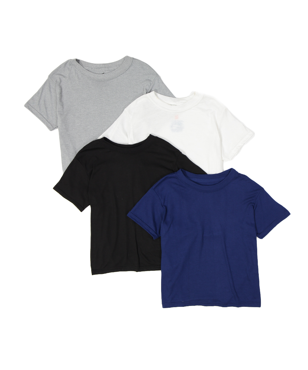 4- Tagless T-shirts - Boys 4- Tagless T-shirts - Boys. Layer these tees or wear them on their own for mix-and-match looks to span the season. A classic neckline looks fresh with just about anything.Includes four tee shirts60% rayon / 40% polyesterMachine wash; tumble dryImported