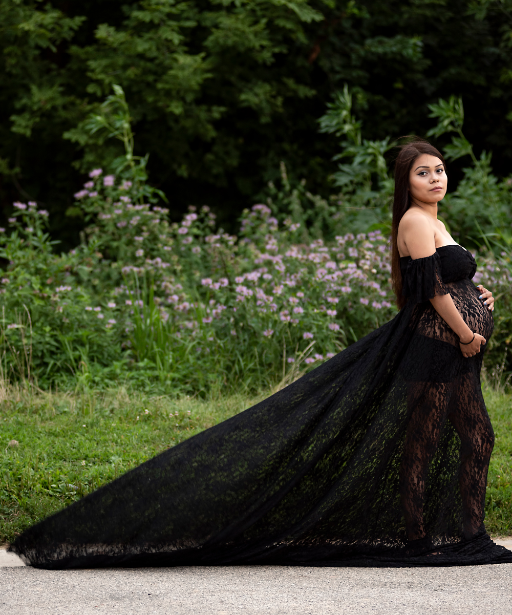 06c7bde367b61 ... Womens Black Black Sheer Lace Willow Maternity Gown - Alternate Image 2  ...