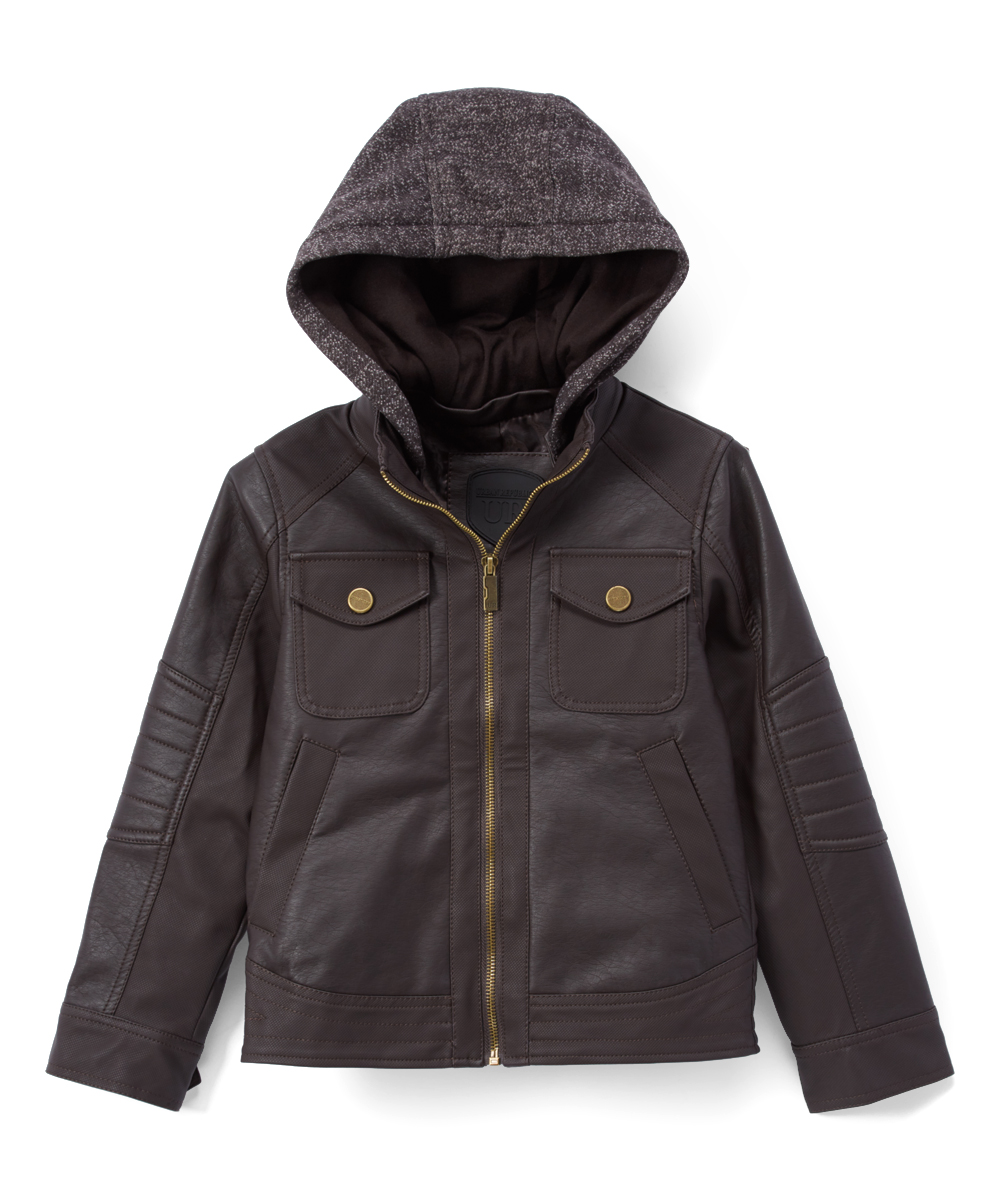 ff84ab94d Urban Republic Dark Brown Faux Leather Fleece Hoodie - Infant ...