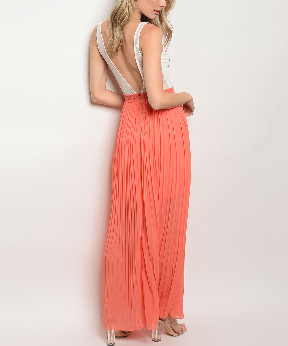 406c77d64016 ... Womens WHITE CORAL White & Coral Scroll Floral Open-Back Maxi Dress -  Alternate Image