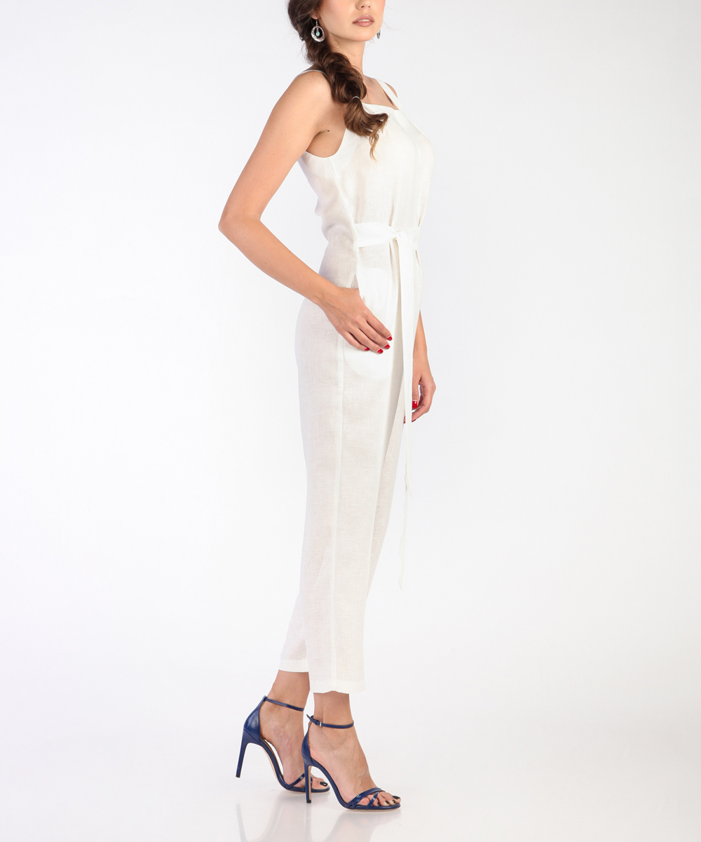 4147d565a0c1 ... Womens WHITE White Sleeveless Linen Jumpsuit - Alternate Image 3 ...