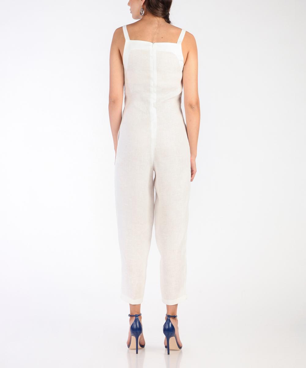 f664145f0fe7 ... Womens WHITE White Sleeveless Linen Jumpsuit - Alternate Image 4 ...