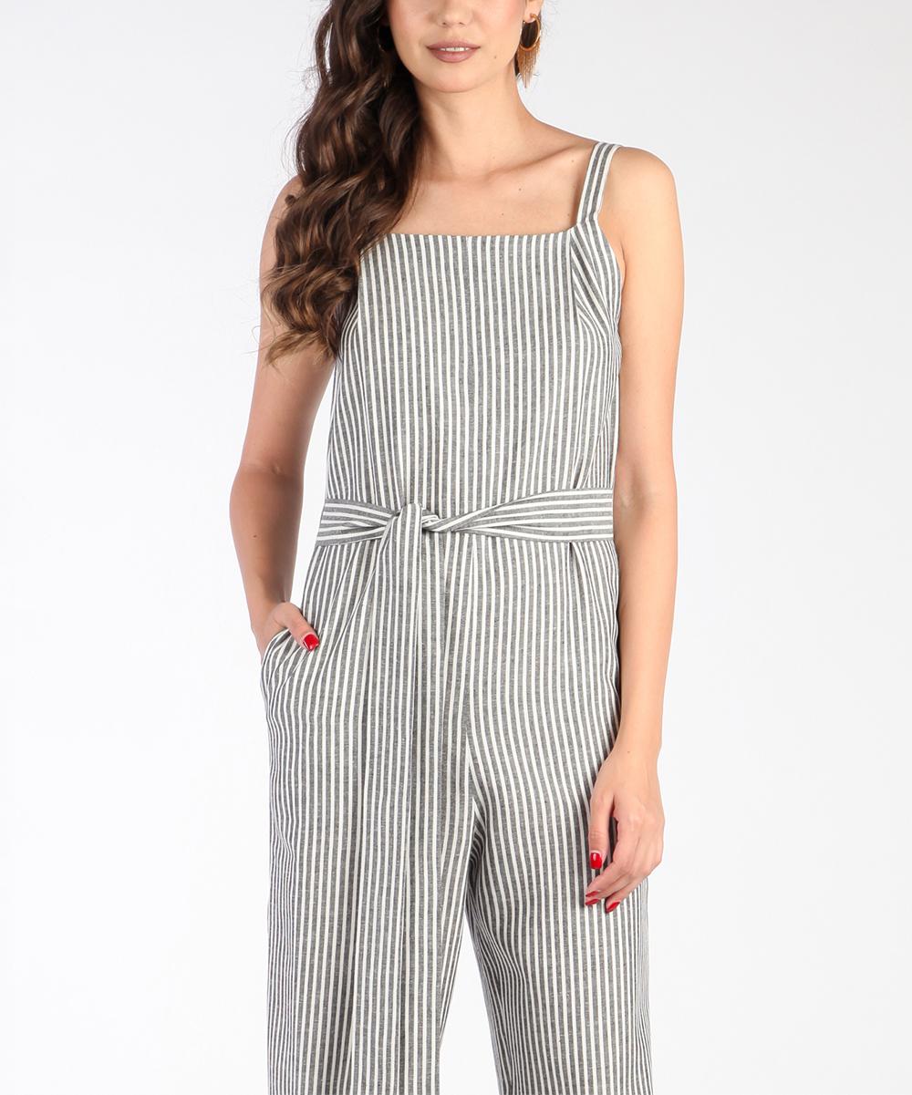 e54df6ab8b64 all gone. Black   White Stripe Sleeveless Linen-Blend Jumpsuit - Women