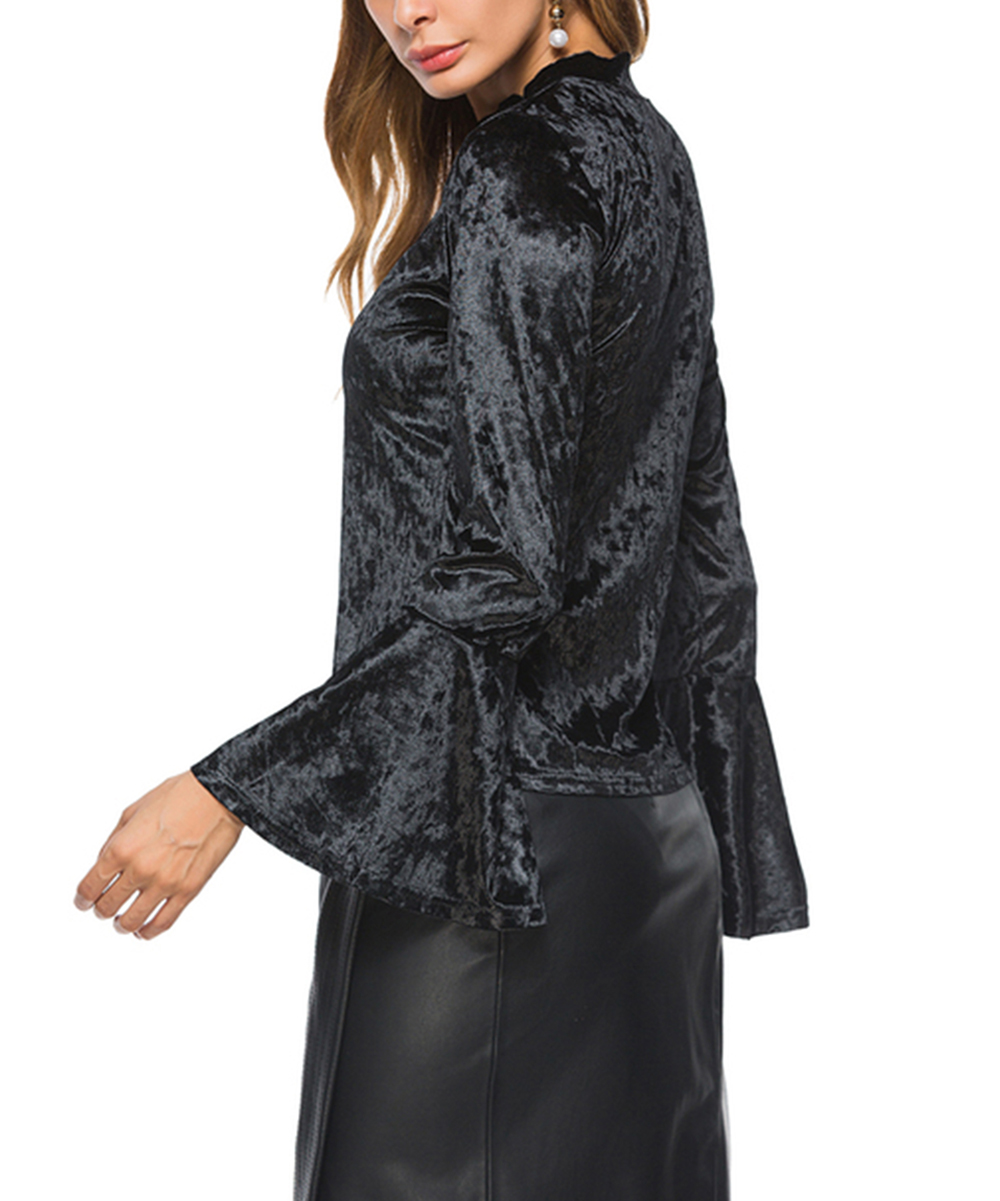 46cafdce Black Velvet Bell-Sleeve Top - Women