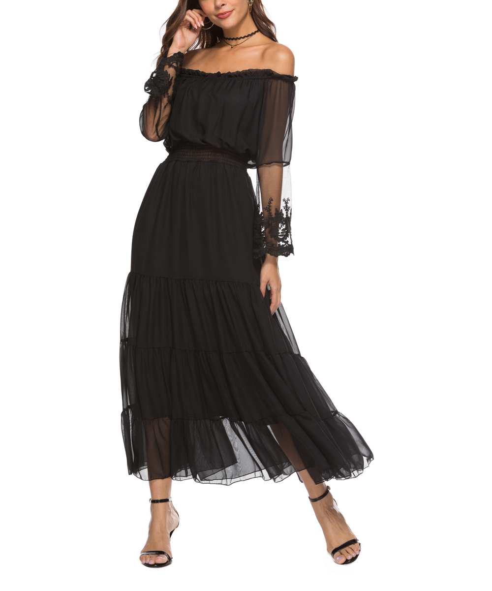 b9bae3368521c Black Lace-Overlay Off-Shoulder Dress - Women - Nisha Outi - Zulily