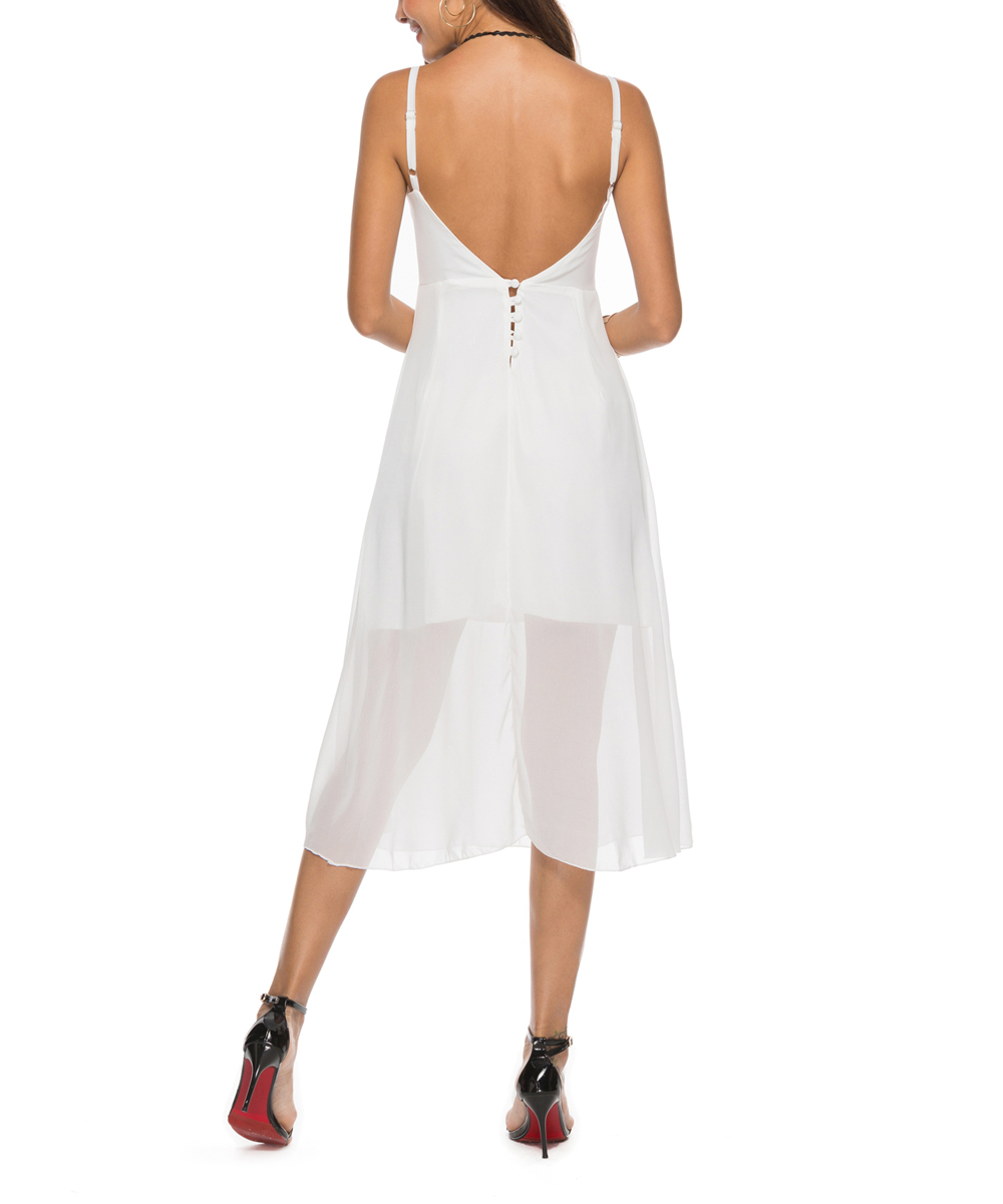 9351e51df85097 ... Womens White White Low-Back Layered Midi Dress - Alternate Image 3 ...