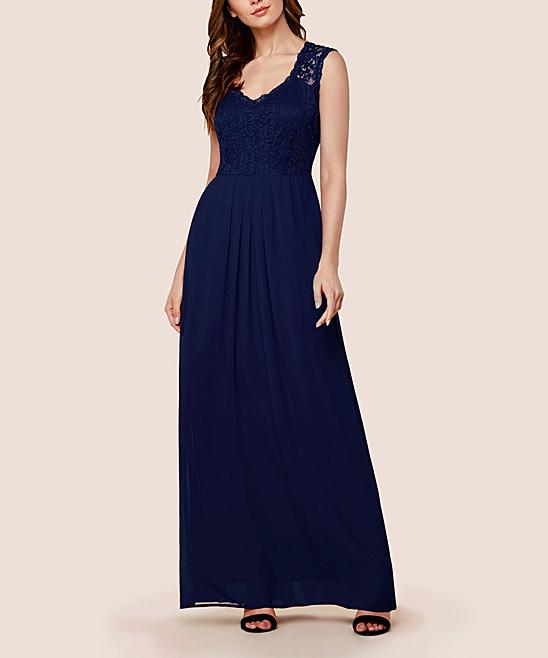 b8626d34b08 Miusol Navy Blue Floral Lace-Accent Maxi Dress - Women