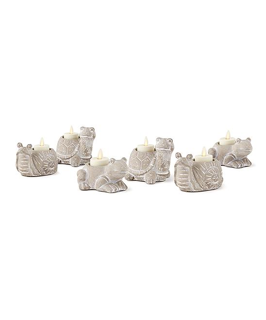 Napa Home & Garden  Candleholders GRAY - Garden Critter Six-Piece Tealight Holder Set