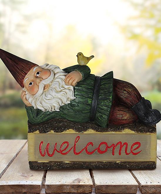 Solar 'Welcome' Reclining Garden Gnome Decor