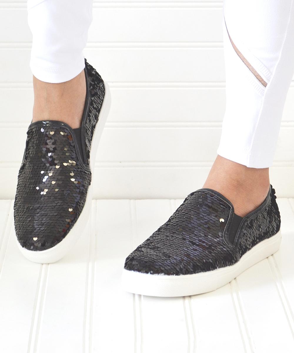 Mata Shoes Women's Sneakers BLACK - Black Sequin Layla Slip-On Sneaker - Women