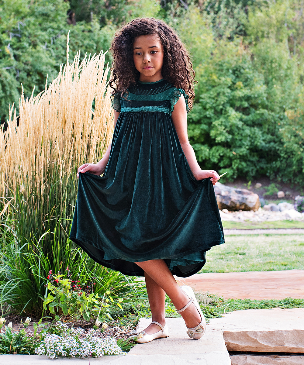 8a4ab50d5b42 ... Girls 6-Emerald Green Emerald Green Velvet Magnolia Shift Dress -  Alternate Image 2 ...