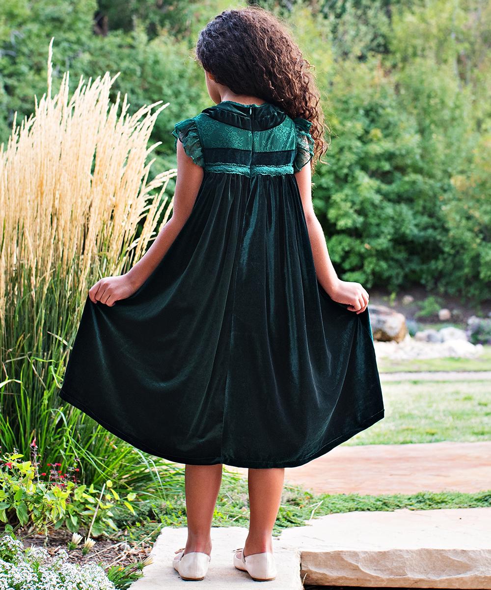5788b7d2466d ... Girls 6-Emerald Green Emerald Green Velvet Magnolia Shift Dress -  Alternate Image 3 ...