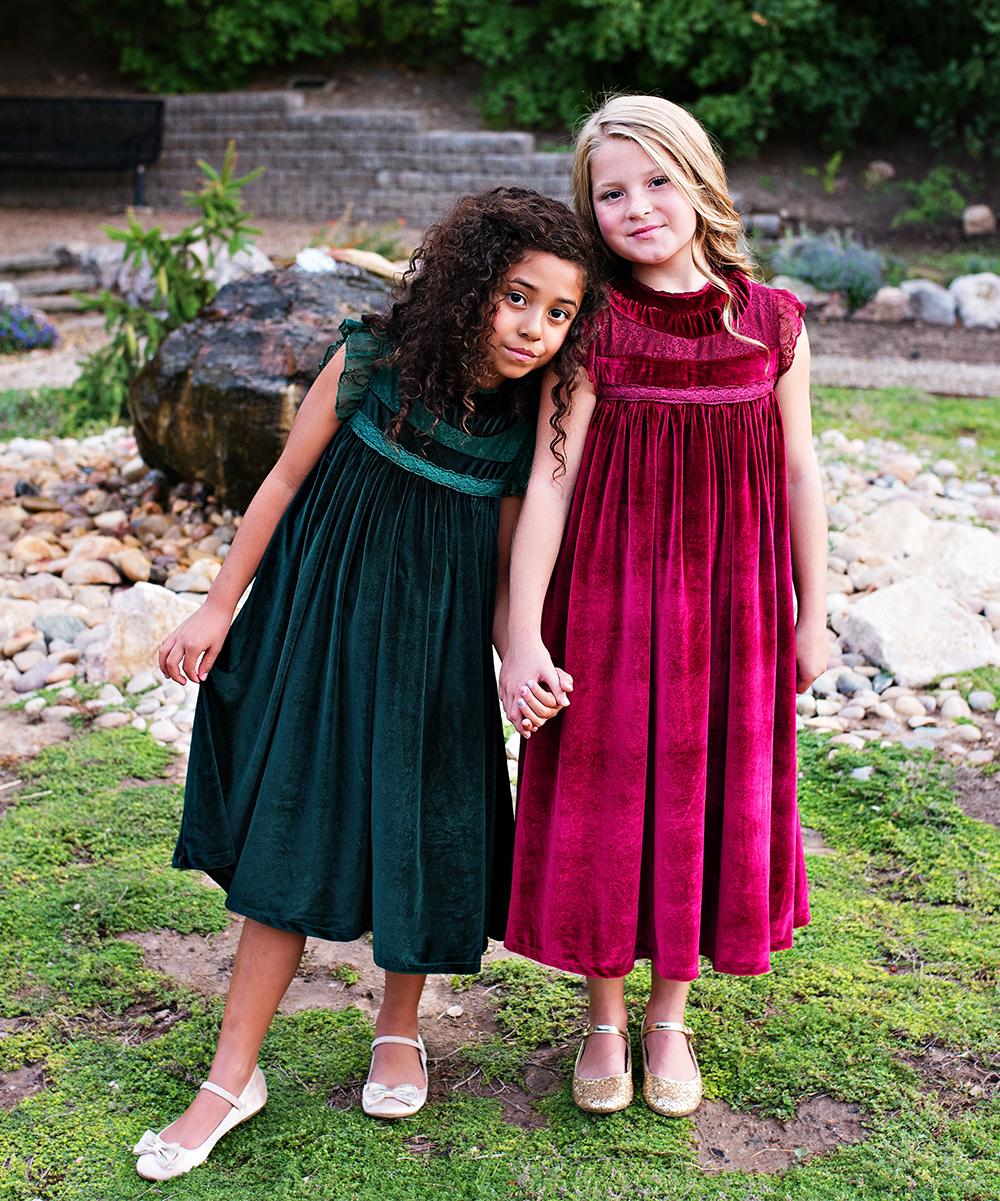 3541133771fe ... Girls 6-Emerald Green Emerald Green Velvet Magnolia Shift Dress -  Alternate Image 5