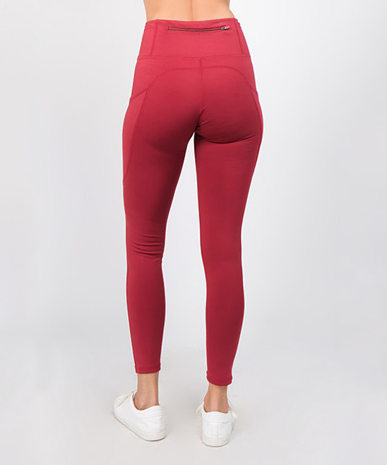 a36a8f125bda0 ... Womens BRICK RED Brick Red High-Waist Tech Pocket Leggings - Alternate  Image 3 ...