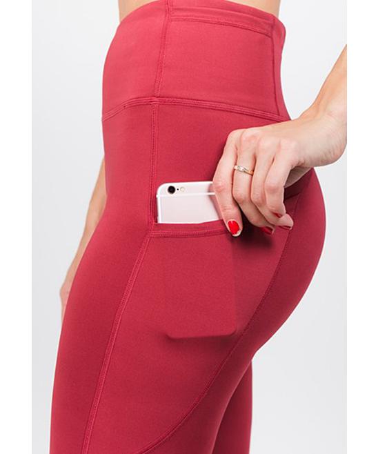 ce98d9ccaa05f ... Womens BRICK RED Brick Red High-Waist Tech Pocket Leggings - Alternate  Image 5