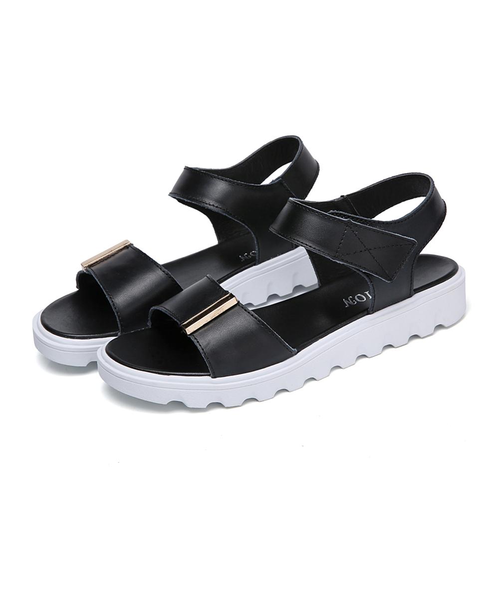 9afd2f976cd ... Womens Black Black   White Leather Platform Sandal - Alternate Image ...