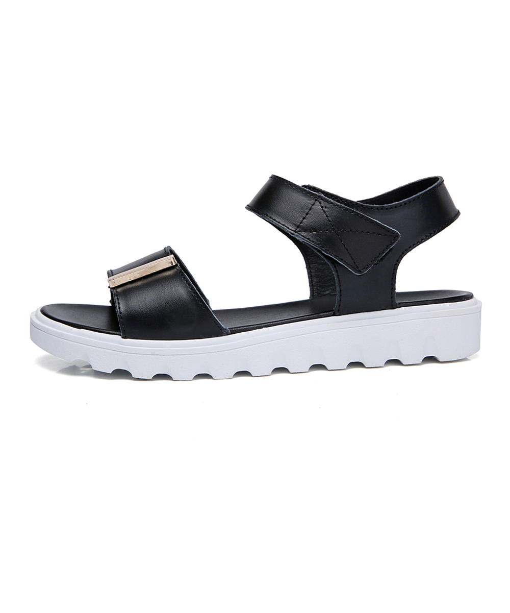 14460b87961 ... Womens Black Black   White Leather Platform Sandal - Alternate Image 3