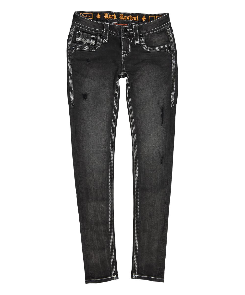 rock revival charcoal black barbila skinny jeans - women | zulily