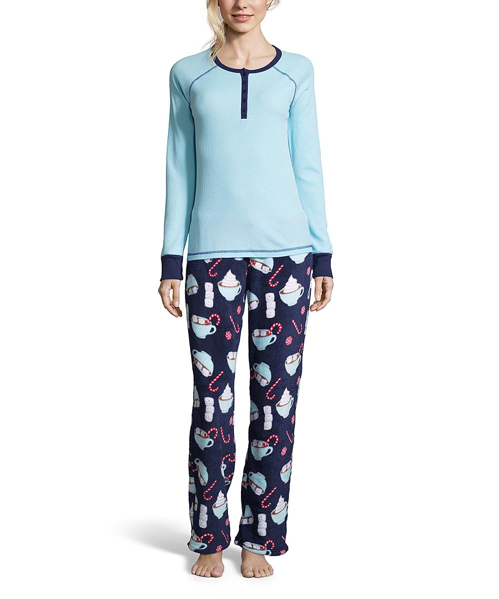 de8d4a2e37d1 Sleep   Co Light Blue   Navy Hot Chocolate Pajama Set - Women