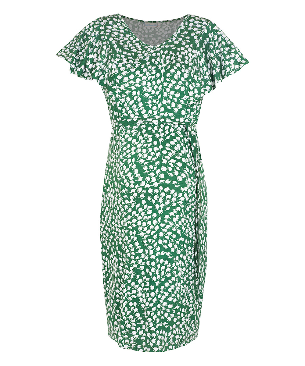 4119552bec430 ... Womens GRE Green & White Leaf Maternity Dress - Alternate Image ...