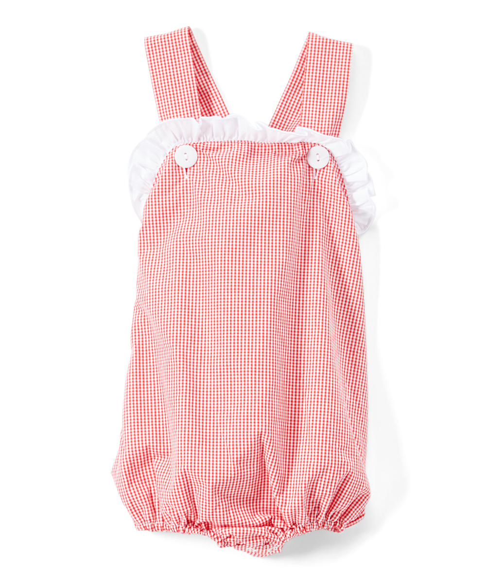 f3b0cd79e608 Barefoot Childrens Clothing Red Gingham Ruffle-Top Bubble Romper ...