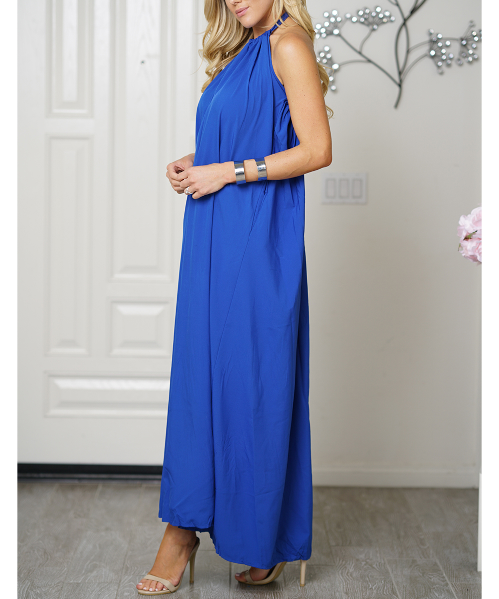 b7adab8972a love this product Royal Blue Open-Back Halter Maxi Dress - Women