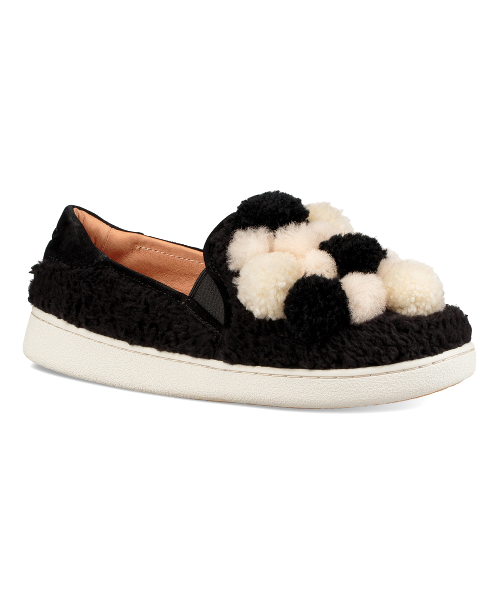 83f93c37c1e UGG® Black Ricci Pom Pom Faux-Fur Slip-On Sneaker - Women
