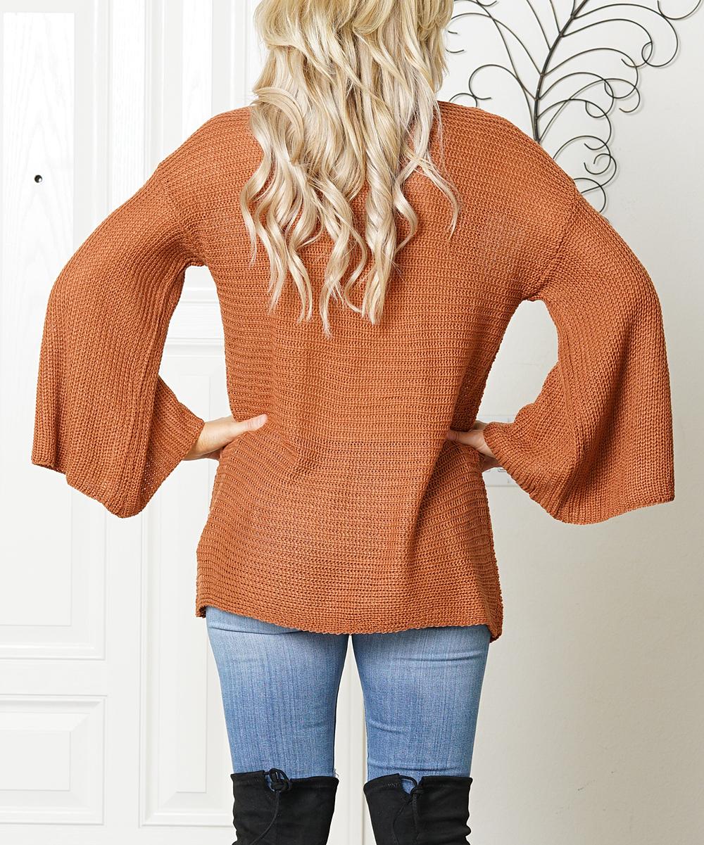 Soto Lifestyle Burnt Orange Bell Sleeve Sweater Women Zulily