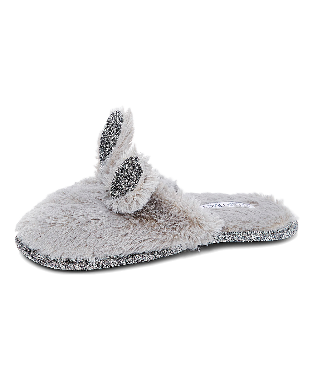 1b8b52253abf ... Womens Grey/Silver Gray & Silver Glitter Bunny Ears Slipper - Alternate  Image 2