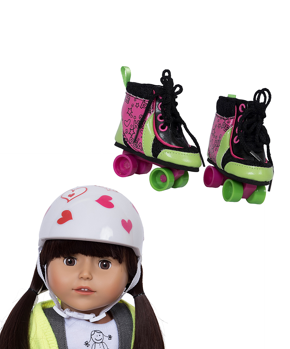 The New York Doll Collection Girls' Doll Clothing  - Roller Skate and Helmet Set for 18'' Doll