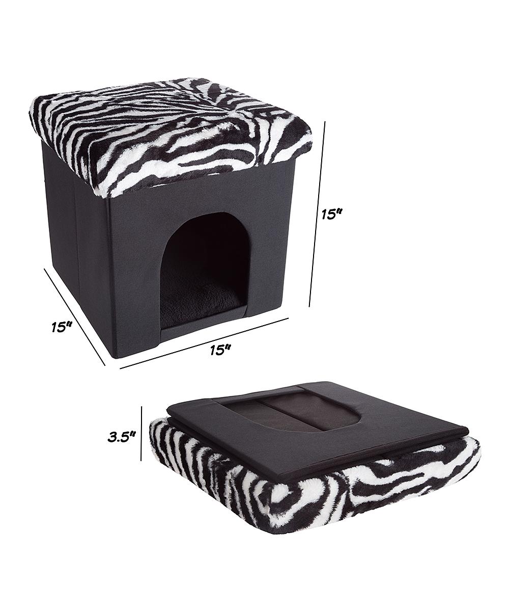 Phenomenal Black White Zebra Collapsible Microsuede Pet Bed Ottoman Inzonedesignstudio Interior Chair Design Inzonedesignstudiocom
