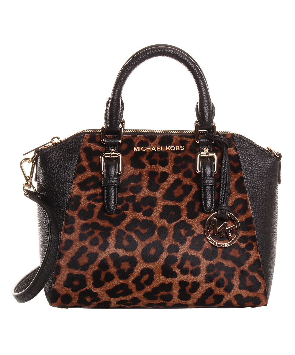 f30979f40d7b33 Michael Kors Black Leopard Print Kiara Leather Crossbody Bag | Zulily