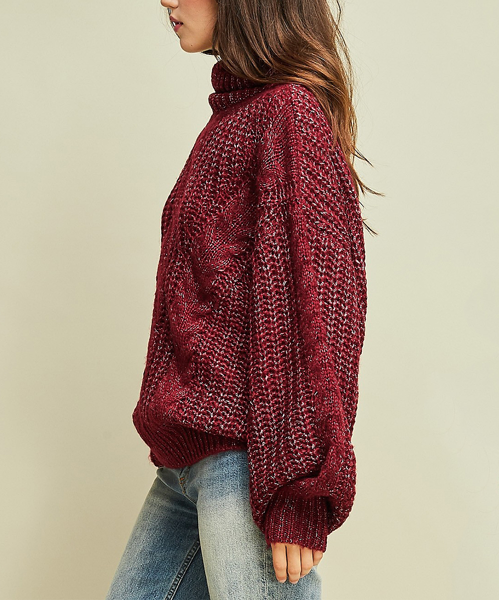 d14dc9ece87 ... Womens BURGUNDY Burgundy Cable-Knit Mock Neck Sweater - Alternate Image  2 ...