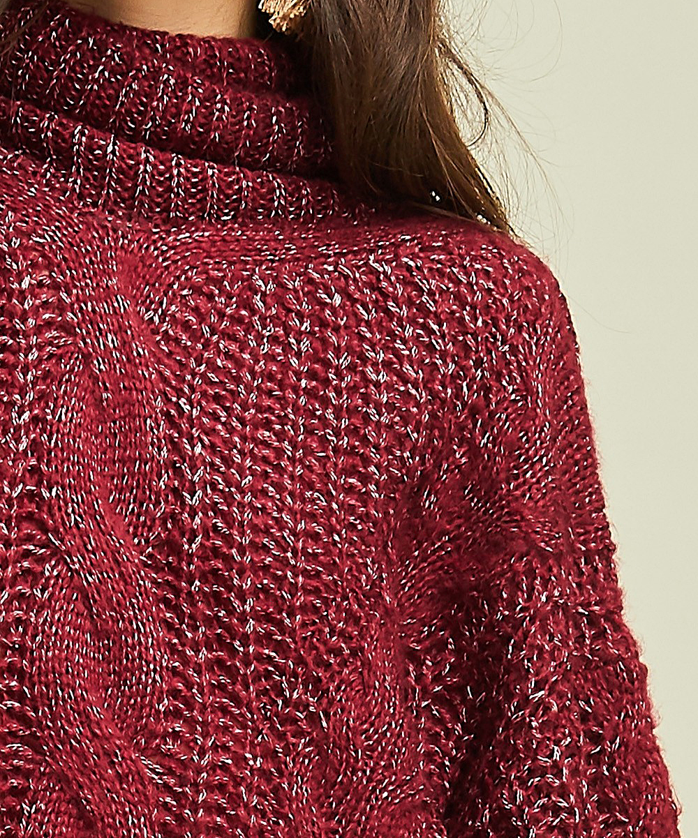 1631d19e2c8 ... Womens BURGUNDY Burgundy Cable-Knit Mock Neck Sweater - Alternate Image  4 ...