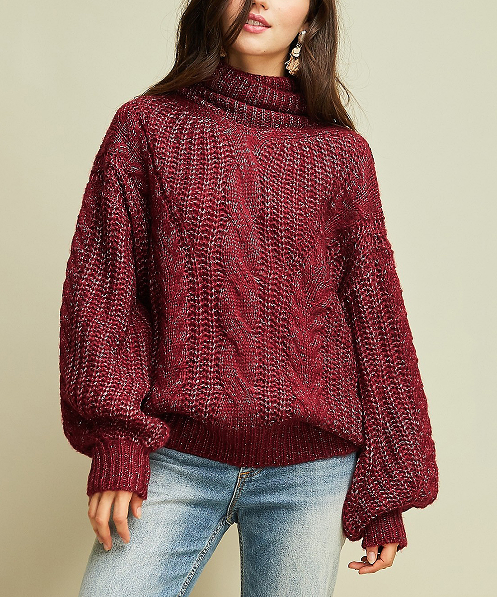 c8f7645b854 all gone. Burgundy Cable-Knit Mock Neck Sweater - Women
