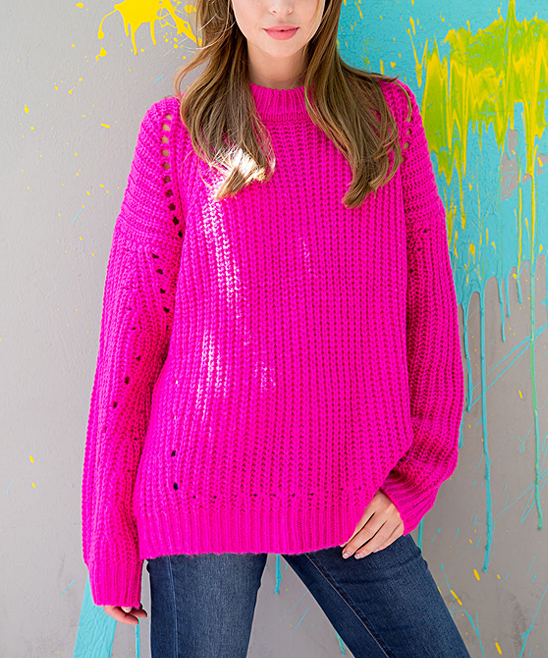 Cherry On Boutique Hot Pink Pointelle Sweater Women Zulily