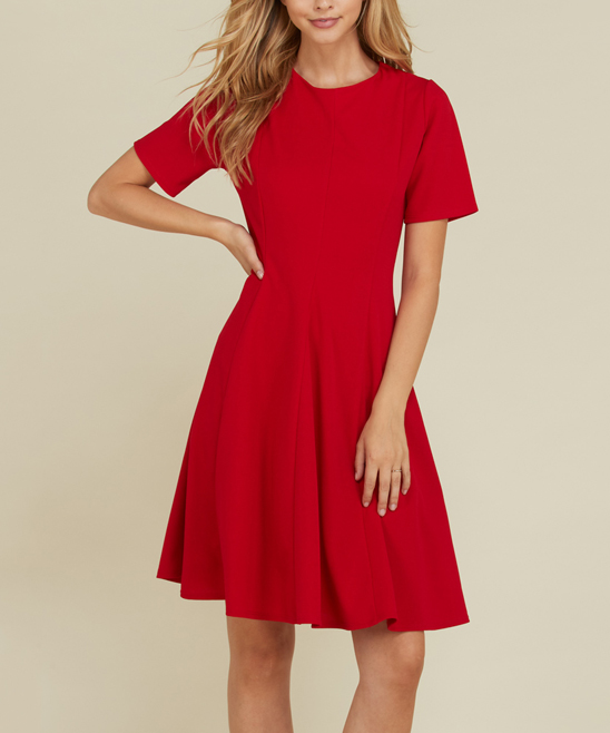 19e4fafab72 love this product Red Short-Sleeve Fit   Flare Dress - Women