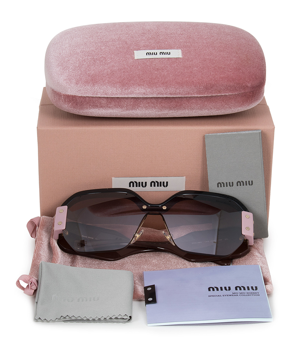 337c2d9f72ec ... Womens Black Pink & Brown Gradient Geometric Semi-Rimless Sunglasses -  Alternate Image 5