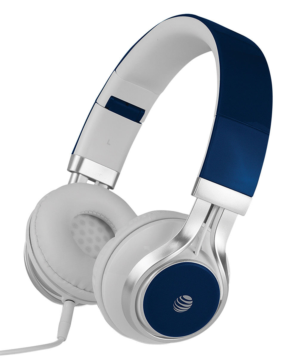 AT&T  Headphones BLUE - JIVE- Over the Ear head set + Mic- Blue