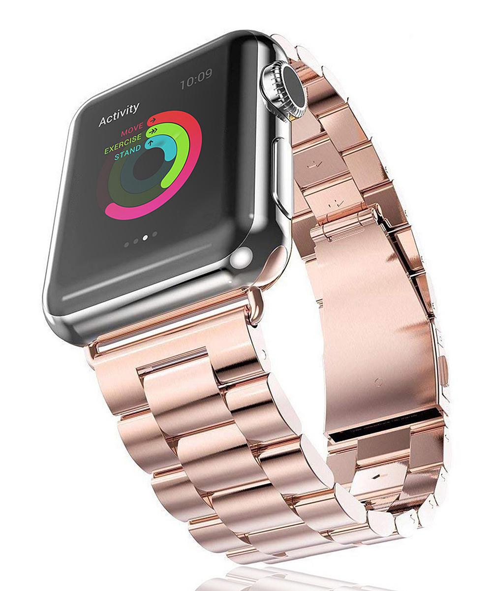 InTech  Replacement Bands Rose - Rose Goldtone Apple Watch Stainless Steel Strap