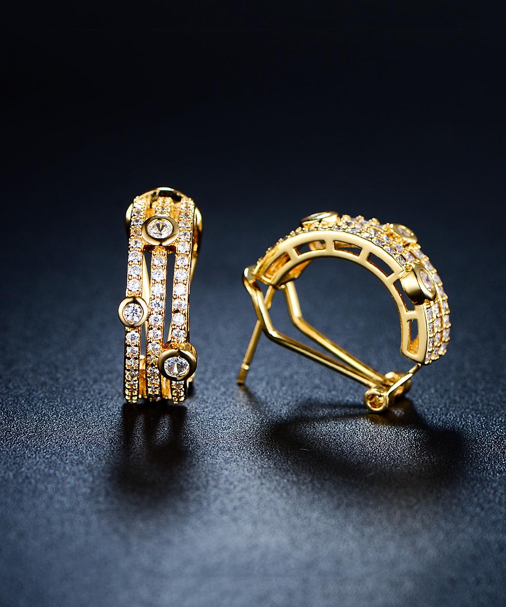 8b4021ad060d6 Hobart 18k Gold-Plated Half Hoop Huggie Earrings With Swarovski® Crystals