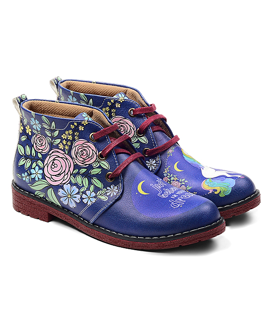 cb507f311a9 Neefs Blue 'Just Believe in Your Dreams' Unicorn Ankle Boot - Women