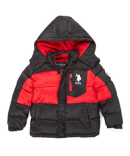 90a0b4ca5 U.S. Polo Assn. Black & Red Bubble Puffer Coat - Boys